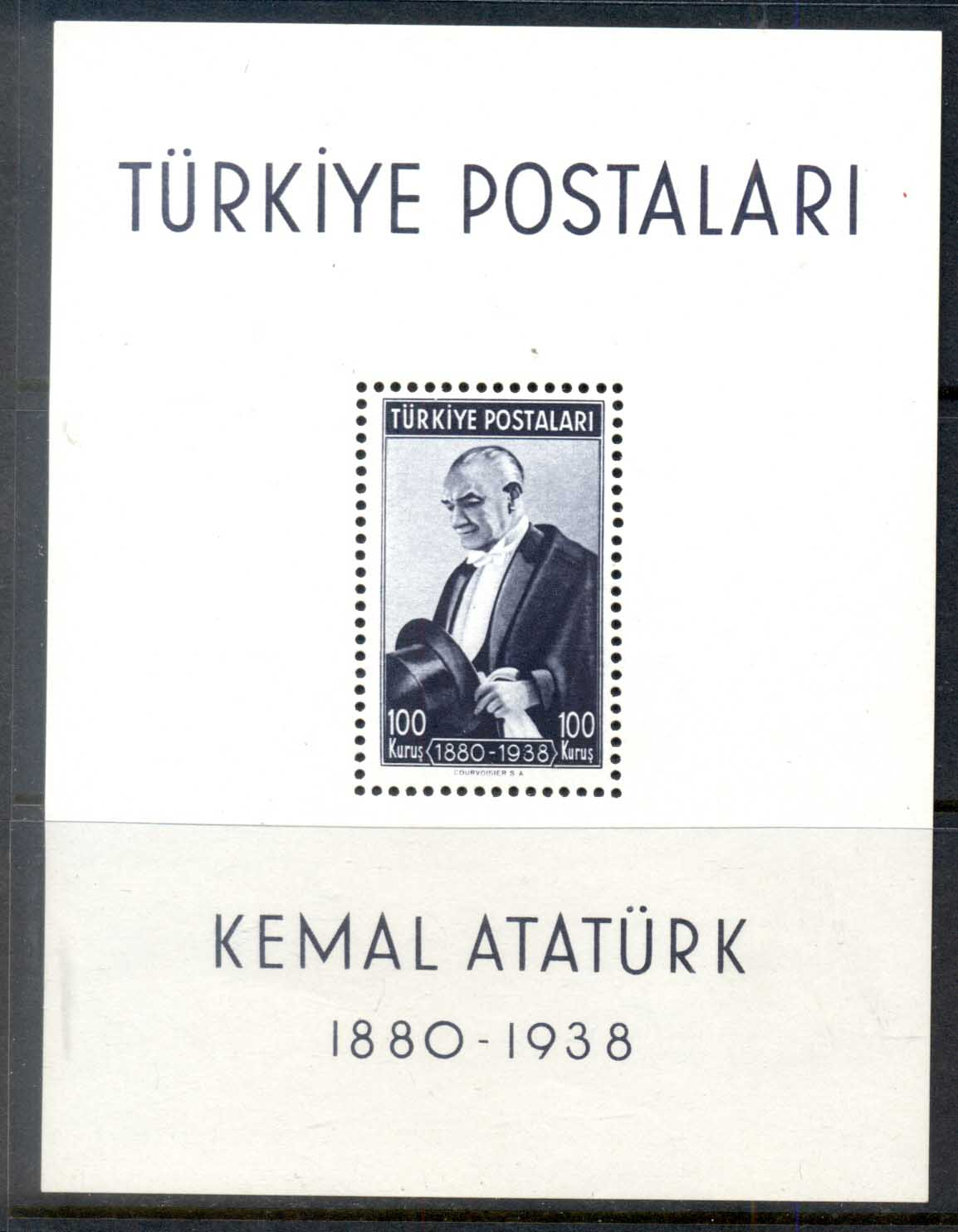 Turkey 1939-40 death of kemal Ataturk 1st Anniv. MS MUH