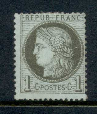 France 1870-73 Ceres 1c , paper adhesion MNG