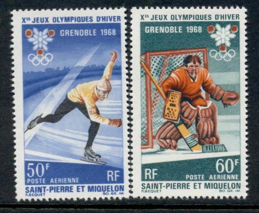 St Pierre et Miquelon 1968 Winter Olympics Grenoble MUH