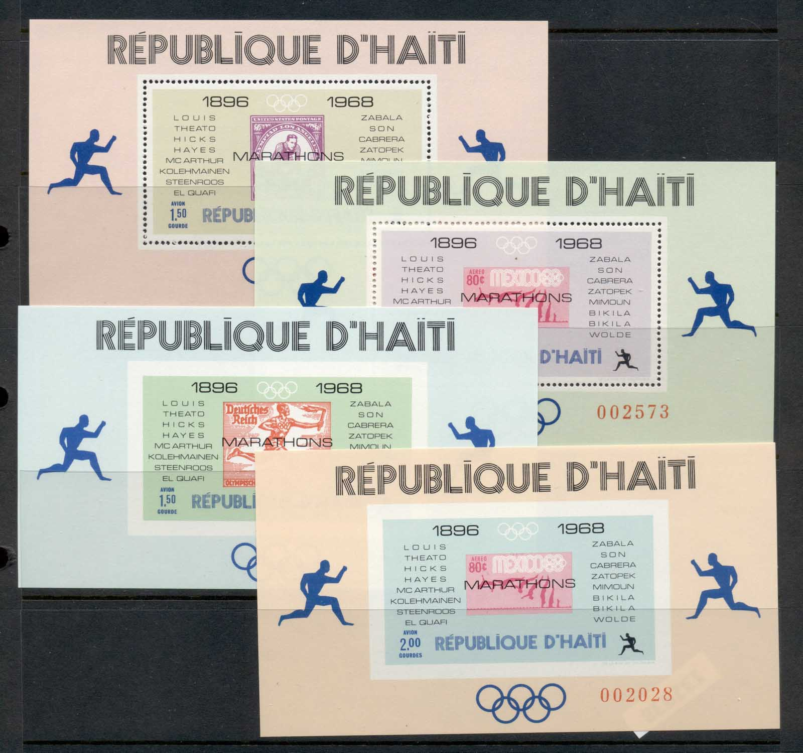 Haiti 1969 Olympic Games Locations & Winners 4x MS Perf & IMPERF MUH