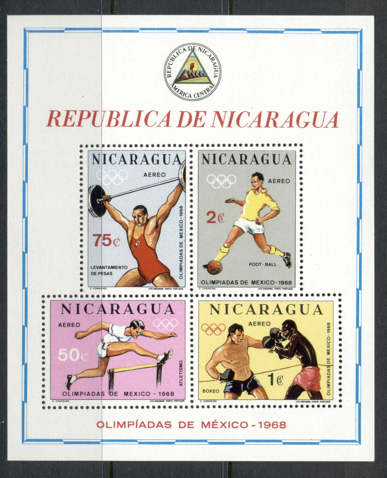 Nicaragua 1968 Summer Olympics Mexico City MS MUH