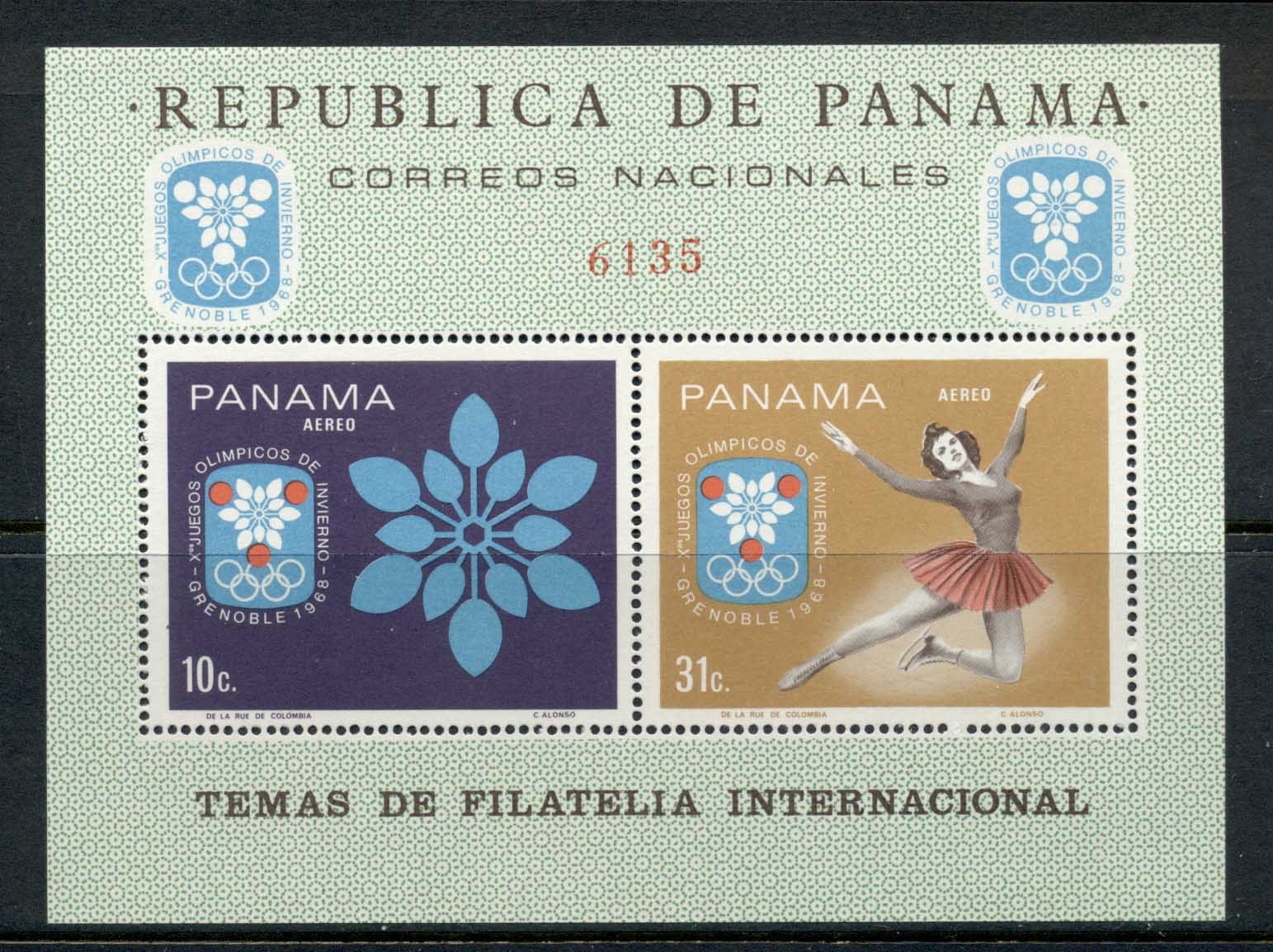 Panama 1967 Winter Olympics Grenoble MS MUH