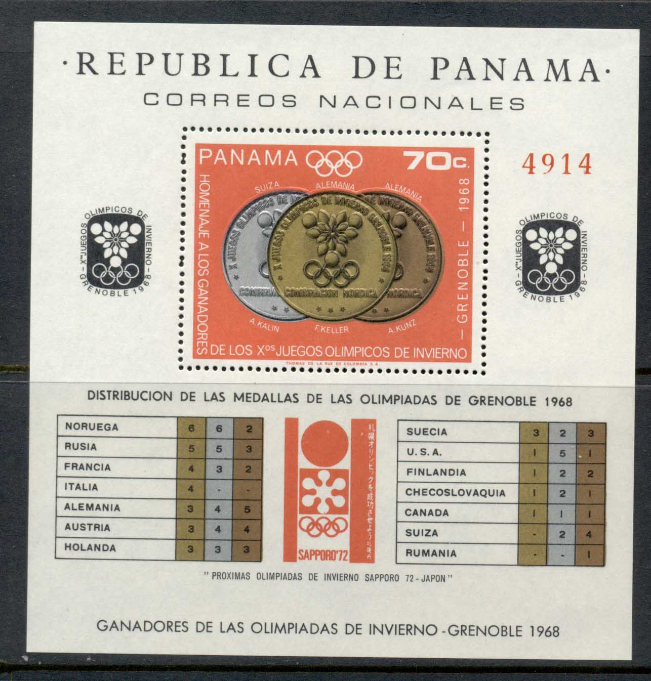 Panama 1968 Winter Olympics Grenoble Medallists MS MUH
