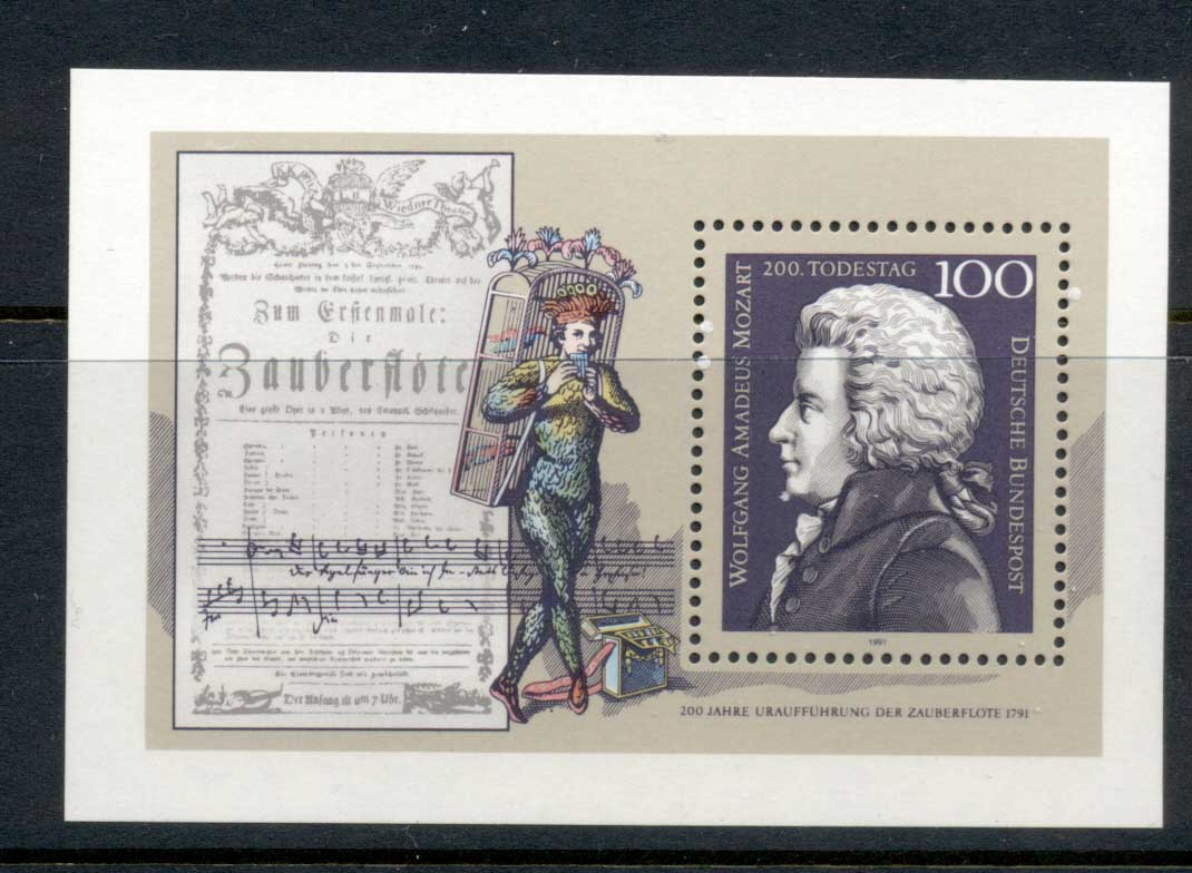 Germany 1991 Mozart Death Bicent. MS MUH