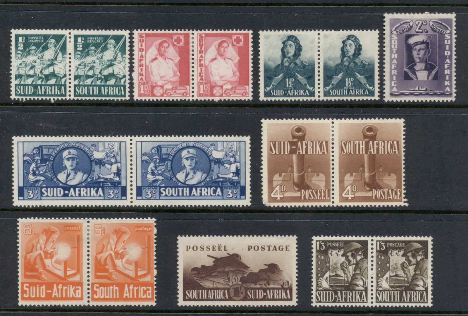 South Africa 1941-43 War Time Pictorials(4d short corner LLC) MLH