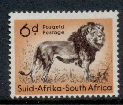 South Africa 1952 QEII Pictorials, Wildlife, Lion 6d MLH