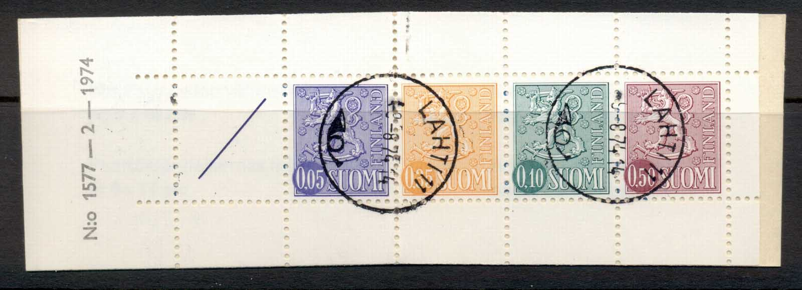 Finland 1968-78 Arms of Finland booklet 1x05,1x35,1x10,1x50, 1 label beige cover CTO