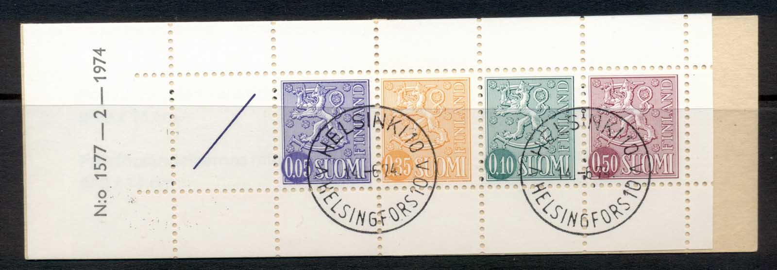 Finland 1968-78 Arms of Finland booklet 1x05,1x35,1x10,1x50, 1 label green cover CTO