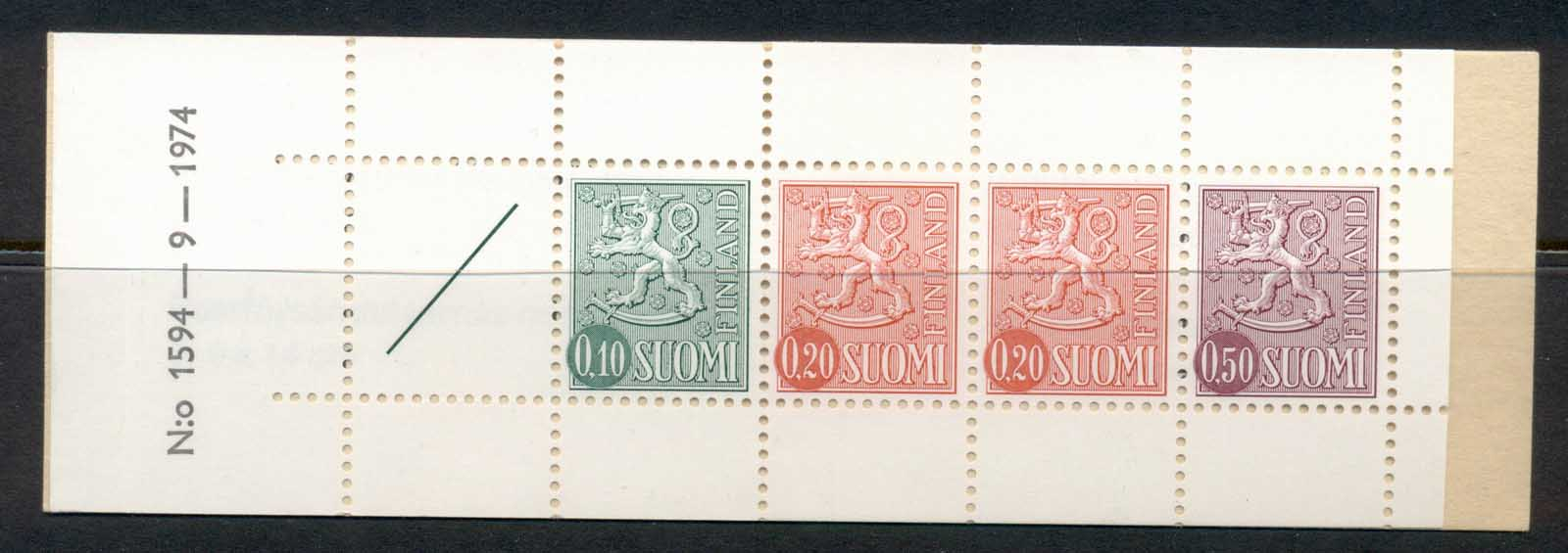 Finland 1968-78 Arms of Finland booklet 1x10, 2x20, 1x50, 1 label green cover '74 MUH