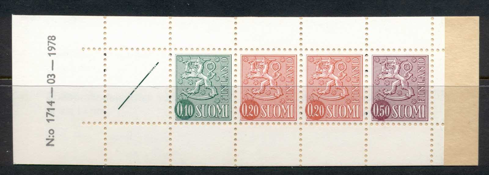Finland 1968-78 Arms of Finland booklet 1x10, 2x20, 1x50, 1 label green cover '78 MUH