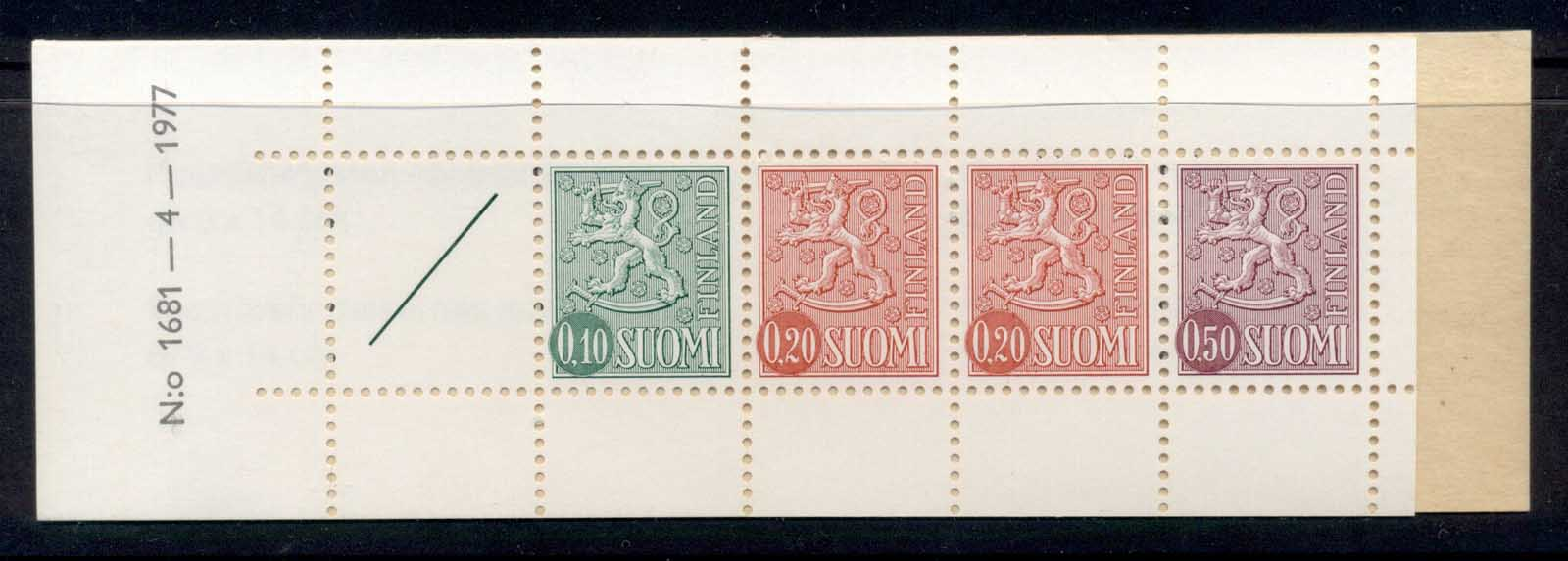 Finland 1968-78 Arms of Finland booklet 10, 2x20, 50, 1 label green cover '77 MUH