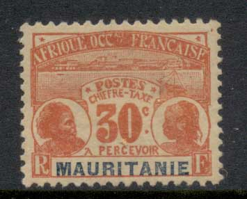 Mauritania 1906-07 Postage Dues 30c MLH