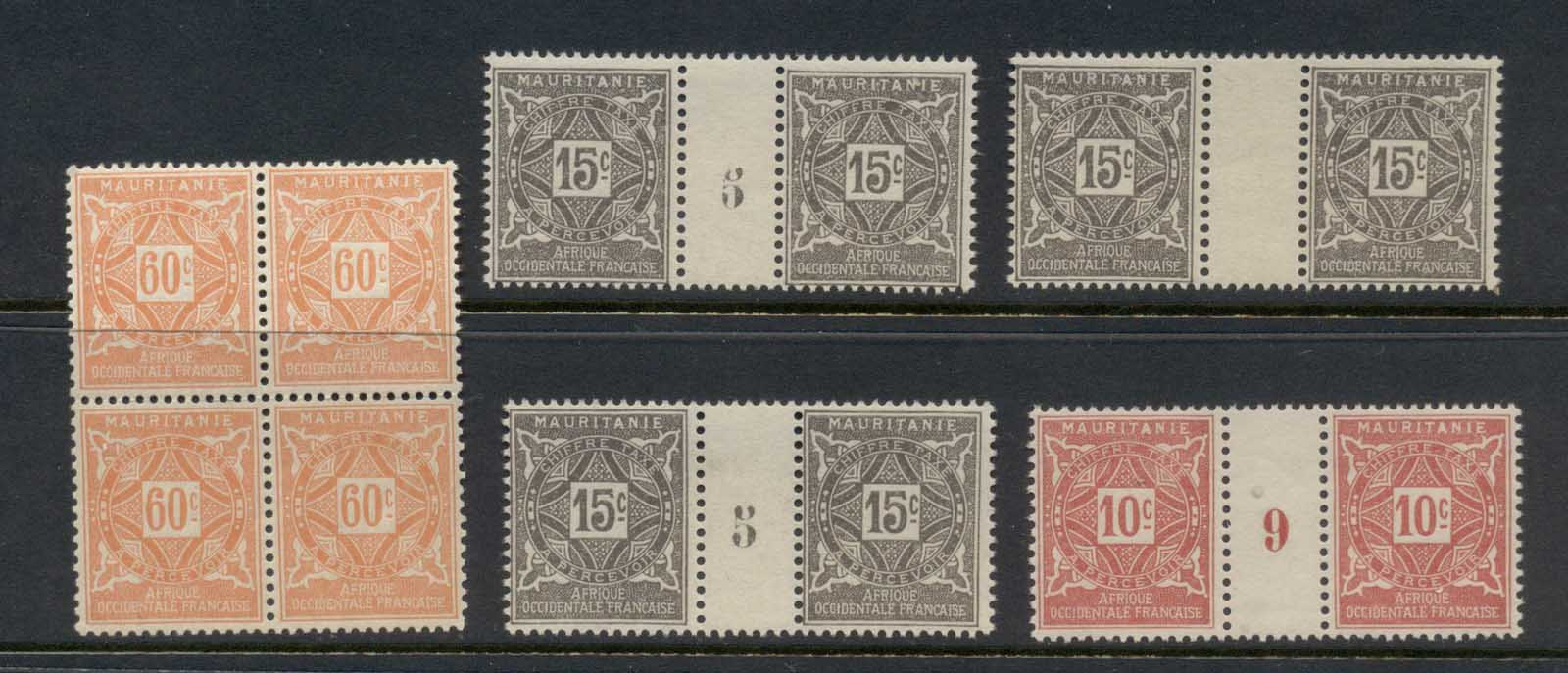 Mauritania 1914 Postage Dues Multiples Asst MLH/MUH