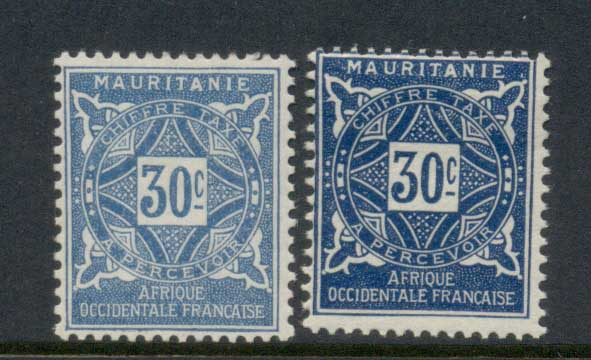Mauritania 1914 Postage Dues 30c 2xshades MLH