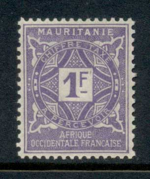 Mauritania 1914 Postage Dues 1f MLH
