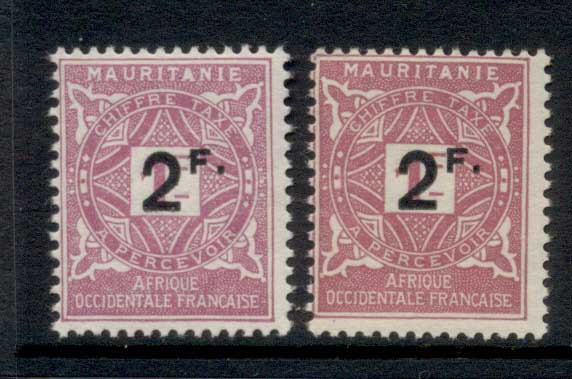 Mauritania 1927 Postage Dues Surch 2f 2x shades MLH