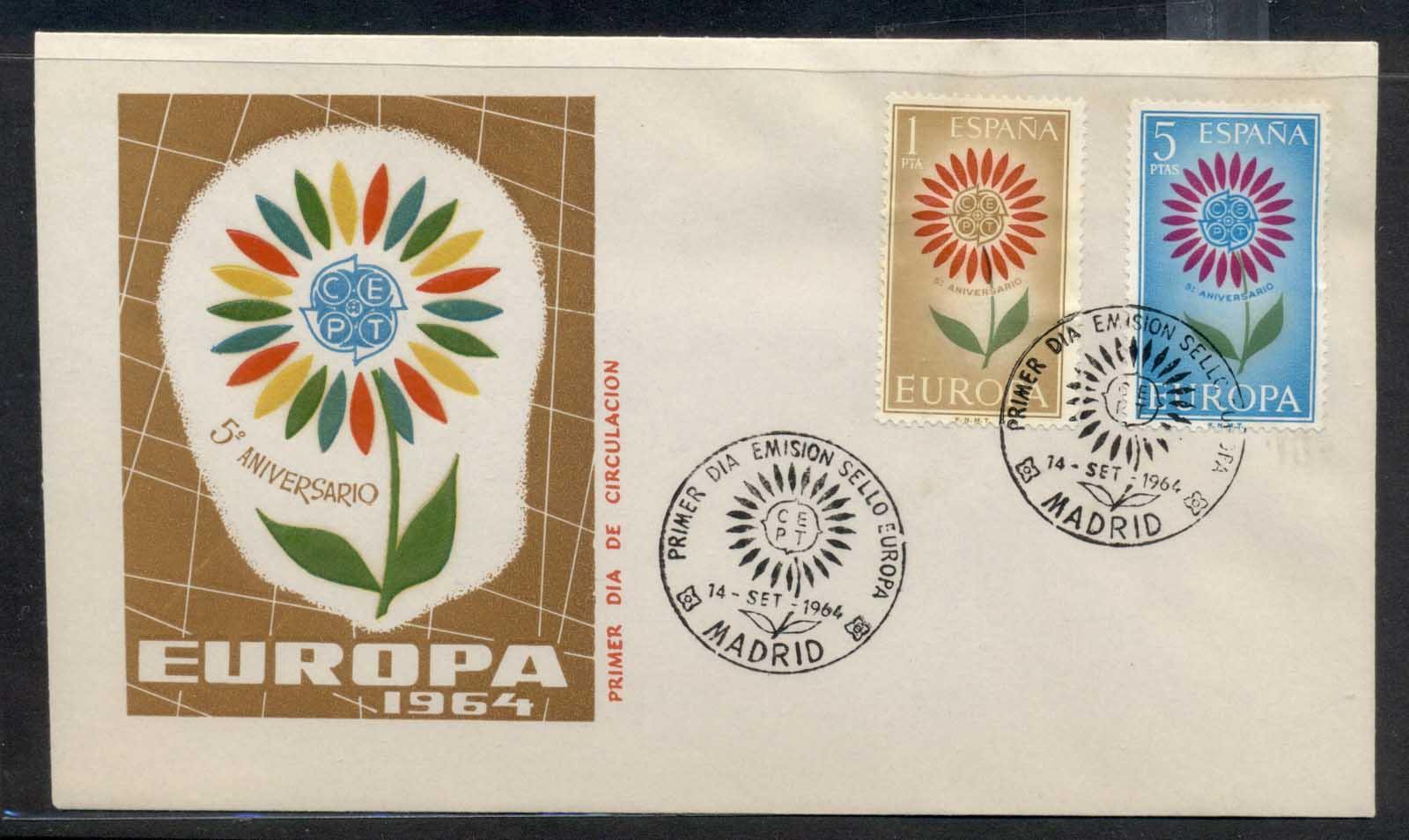 Spain 1964 Europa Daisy of Petals FDC