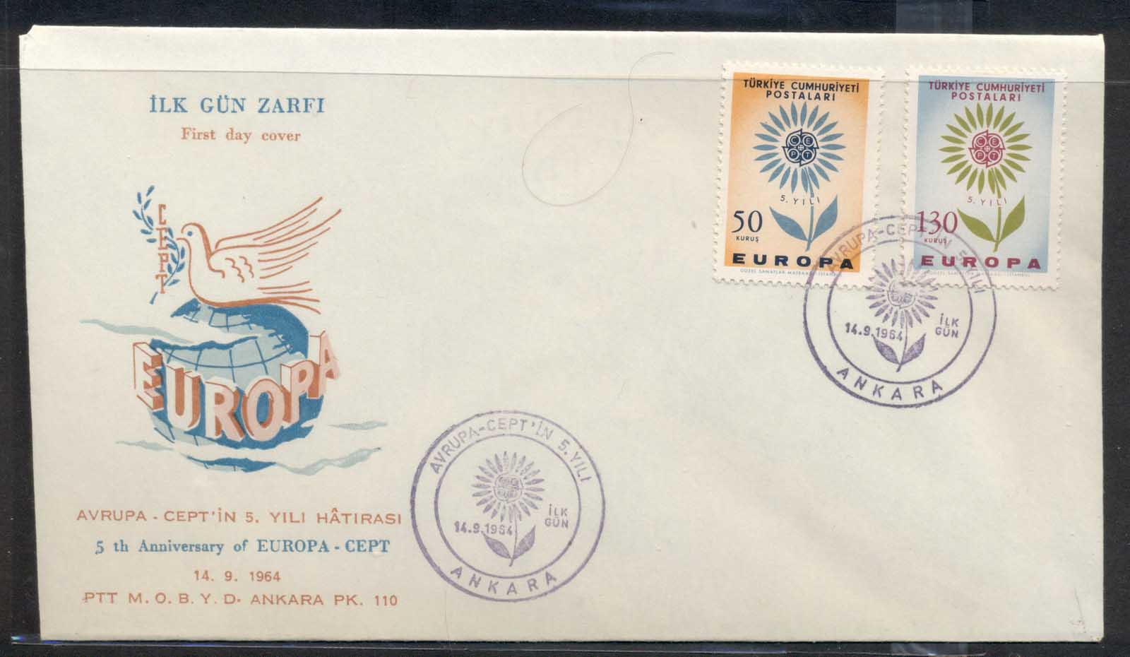 Turkey 1964 Europa Daisy of Petals FDC