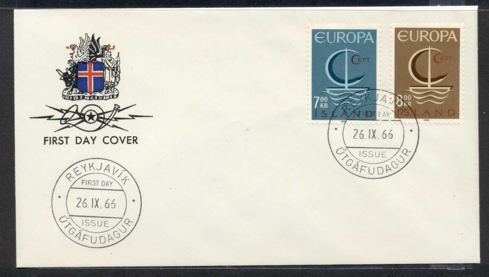 Iceland 1966 Europa Sailboat FDC