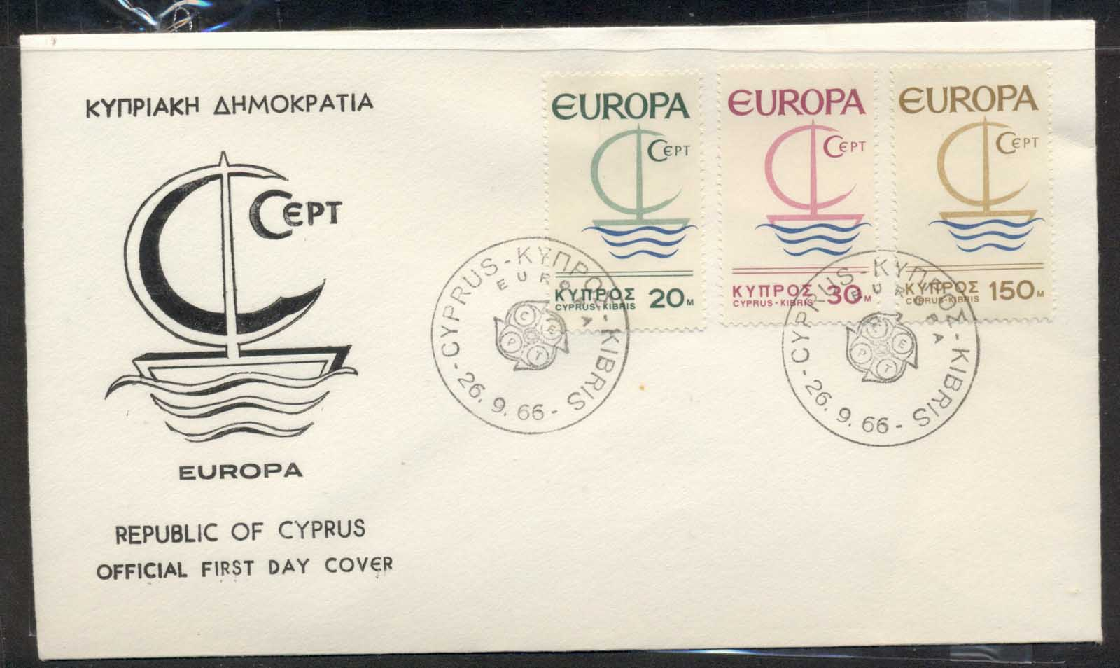 Cyprus 1966 Europa Sailboat FDC
