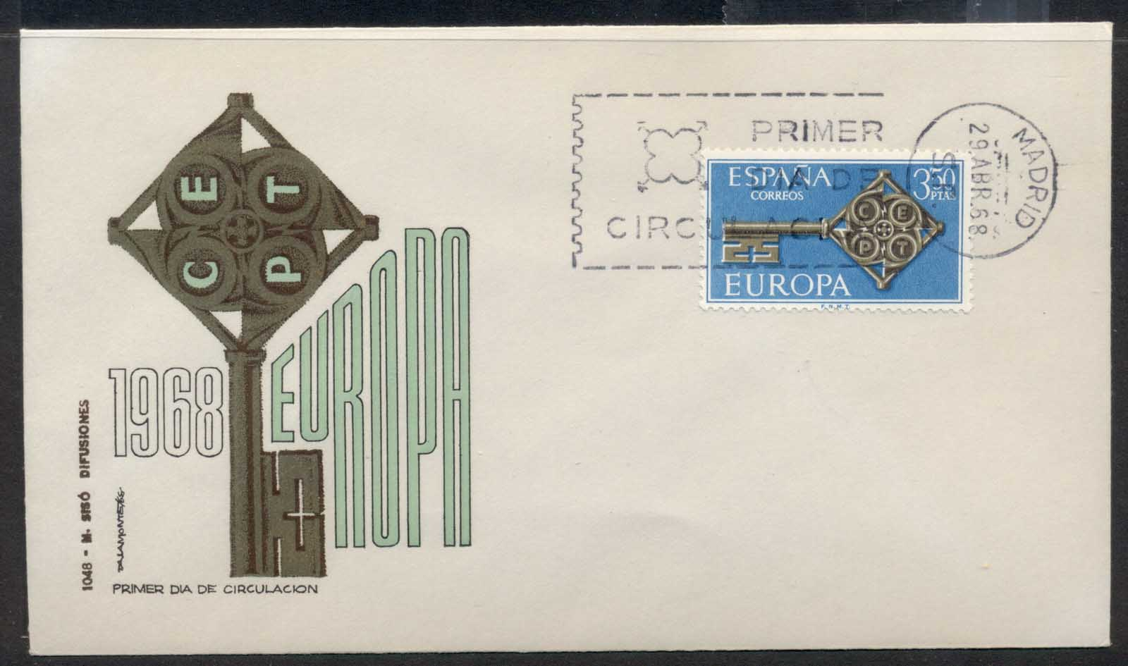 Spain 1968 Europa Key with Emblem FDC