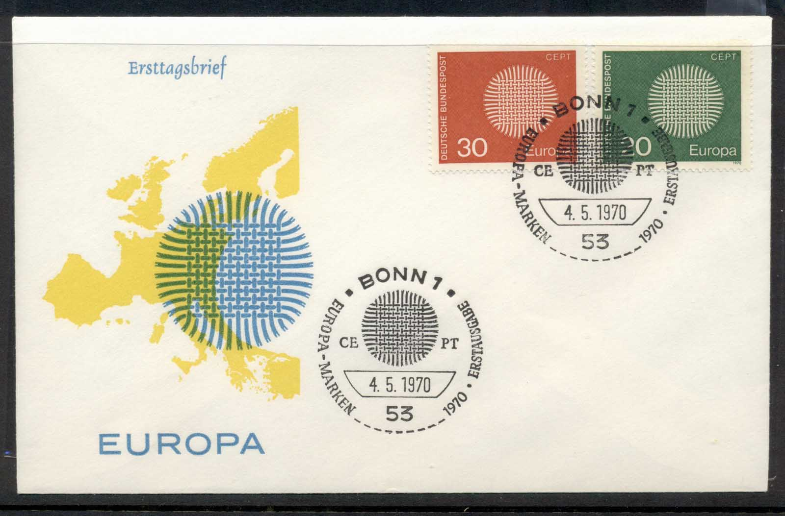 Germany 1970 Europa Woven Threads FDC