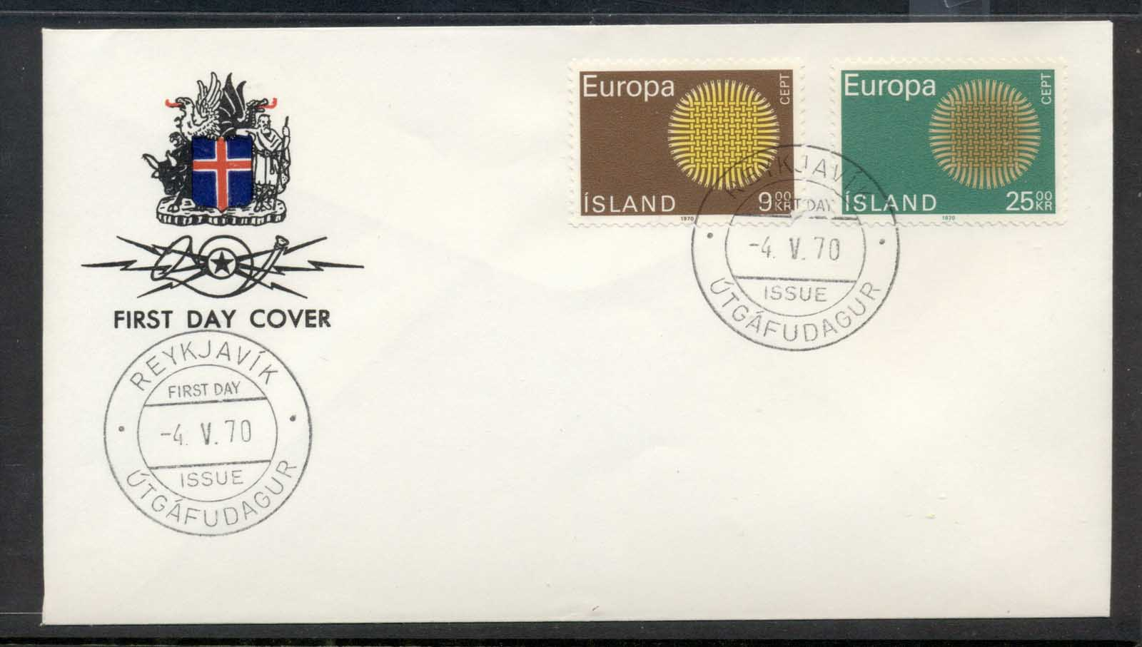 Iceland 1970 Europa Woven Threads FDC