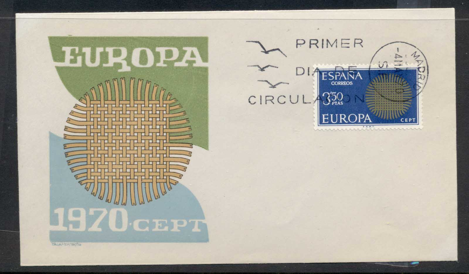 Spain 1970 Europa Woven Threads FDC