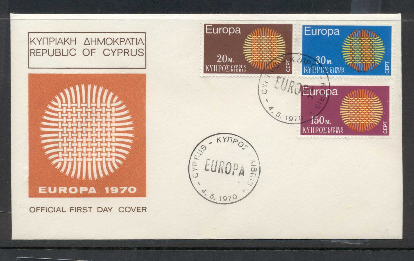 Cyprus 1970 Europa Woven Threads FDC