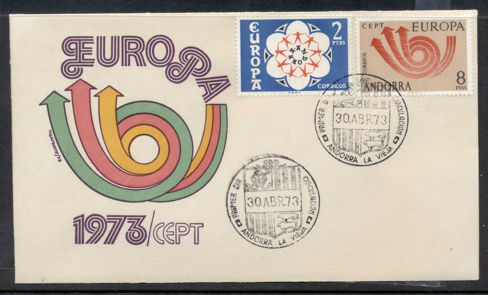 Andorra (Sp.) 1973 Europa Posthorn Arrow FDC