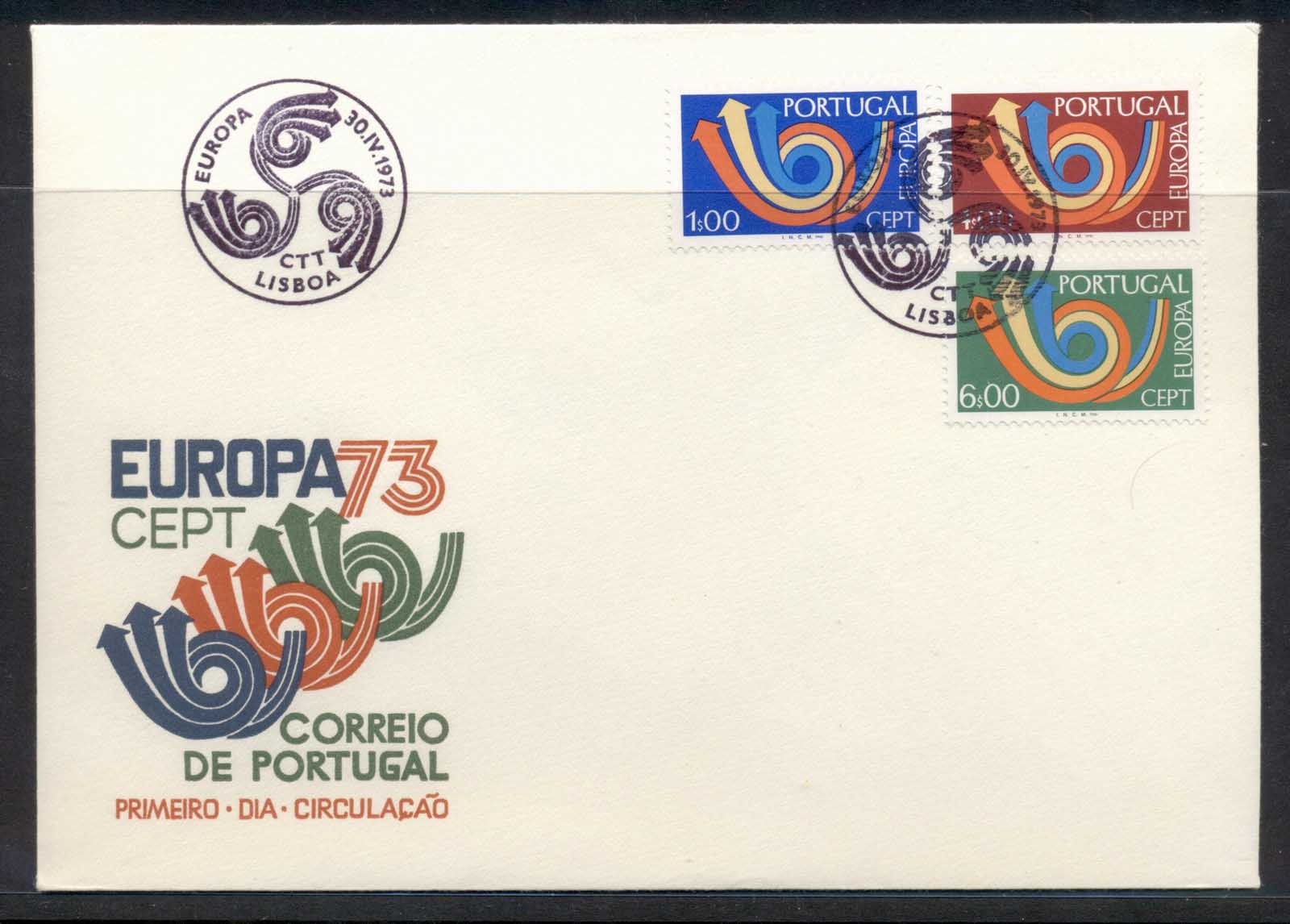 Portugal 1973 Europa Posthorn Arrow FDC