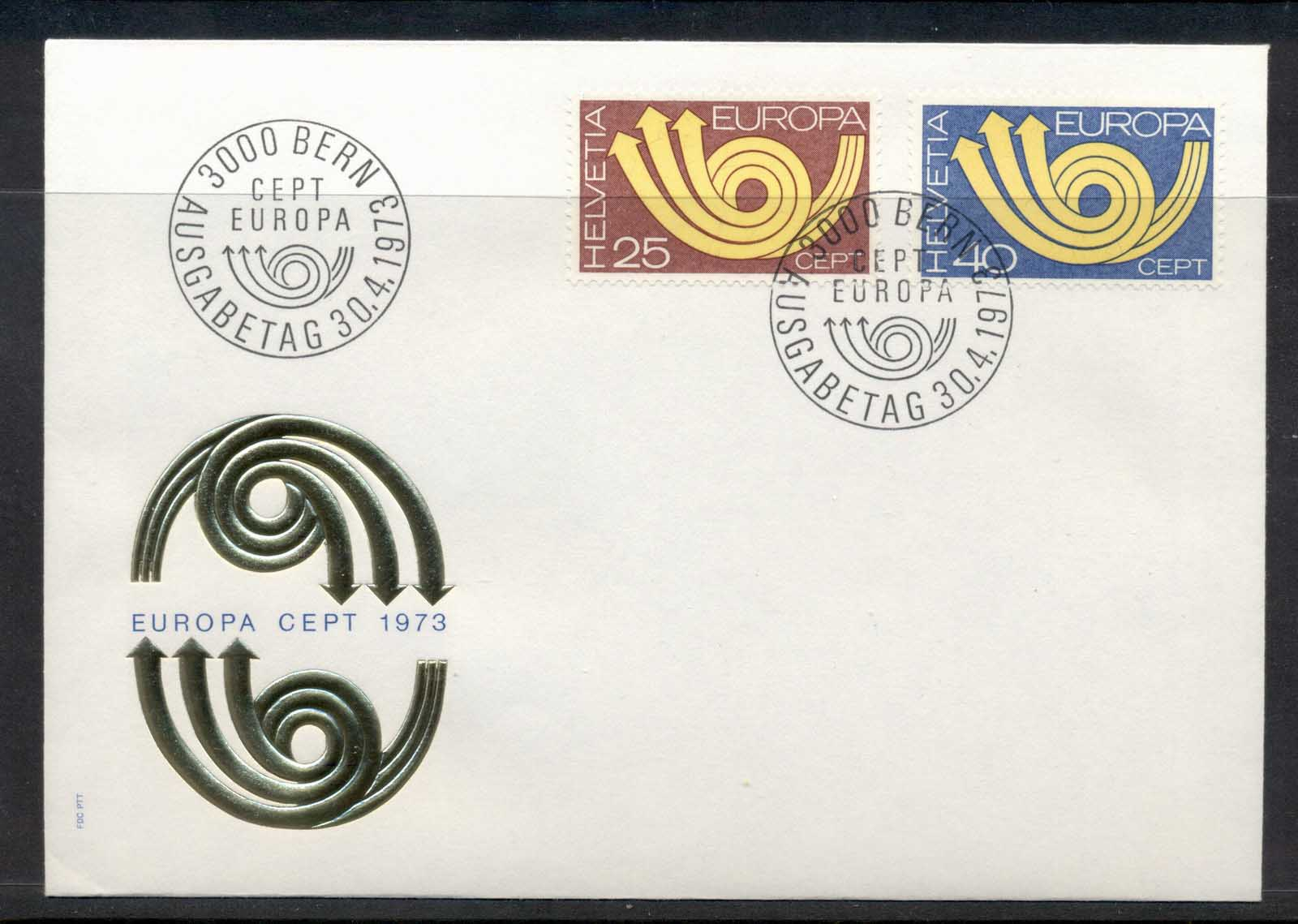 Switzerland 1973 Europa Posthorn Arrow FDC