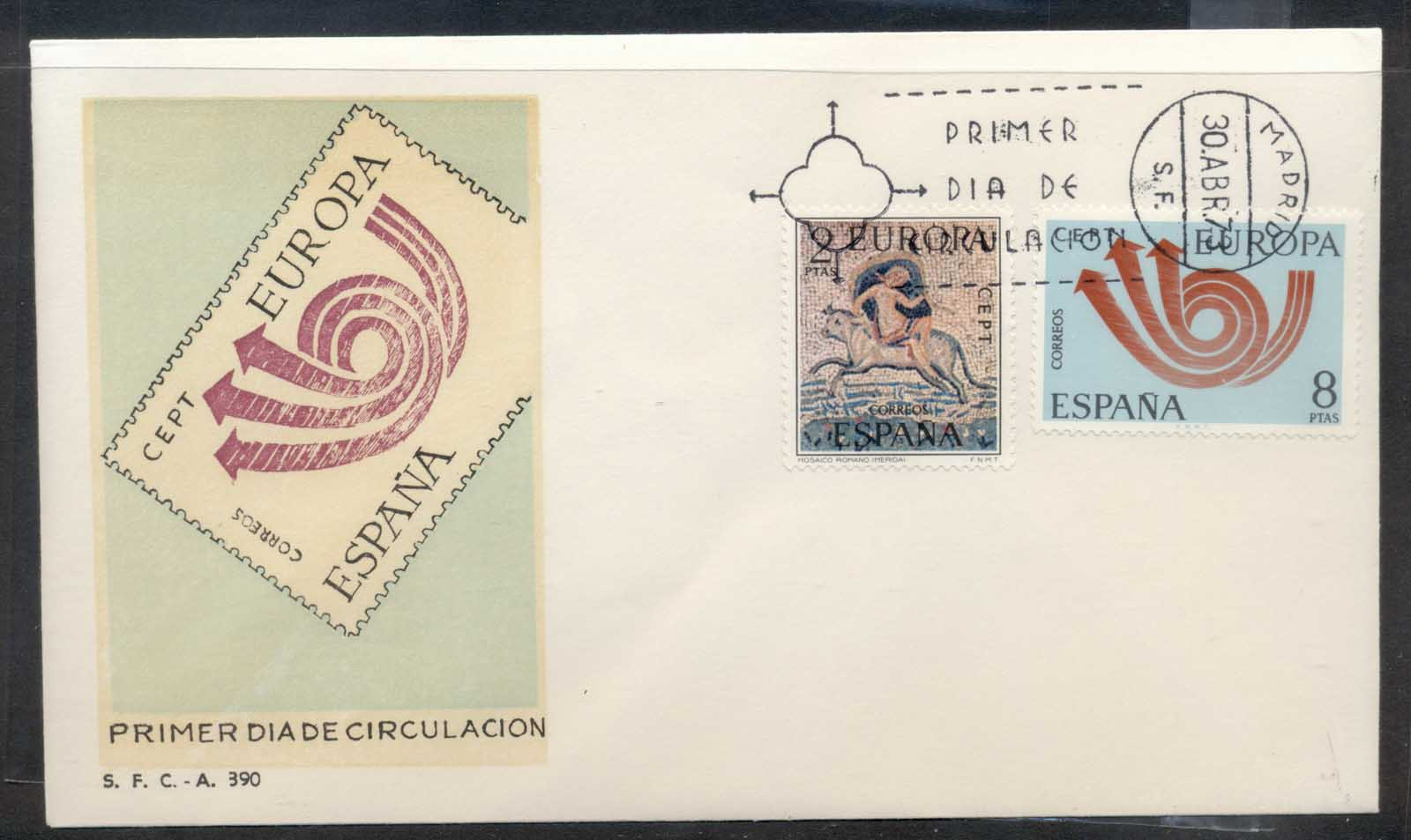 Spain 1973 Europa Posthorn Arrow FDC
