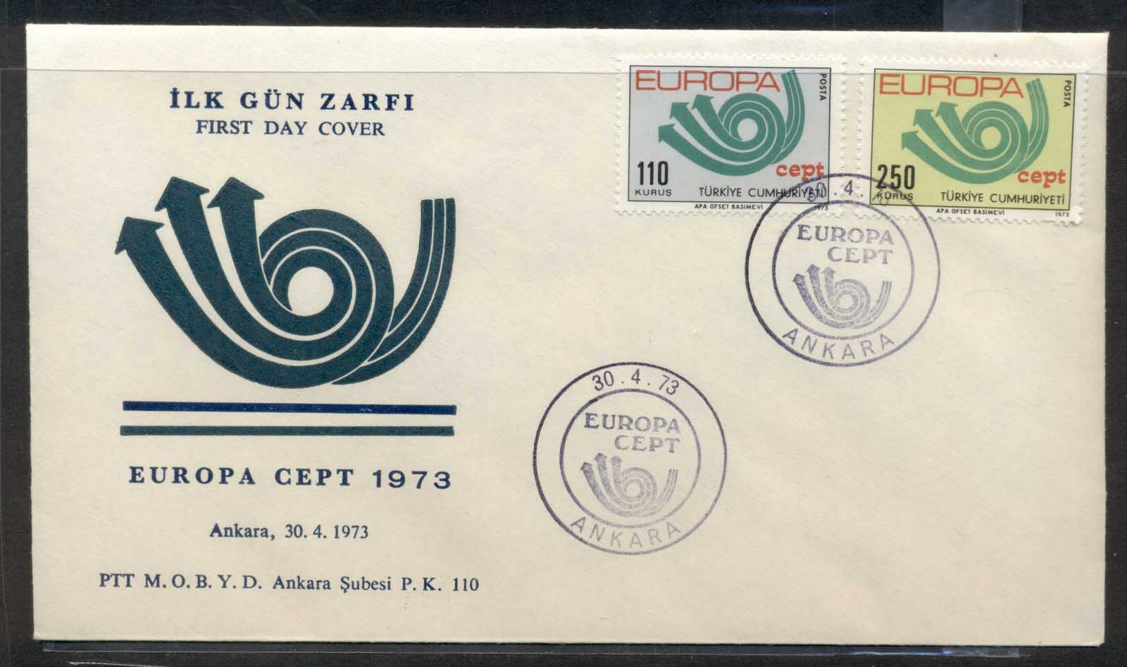 Turkey 1973 Europa Posthorn Arrow FDC