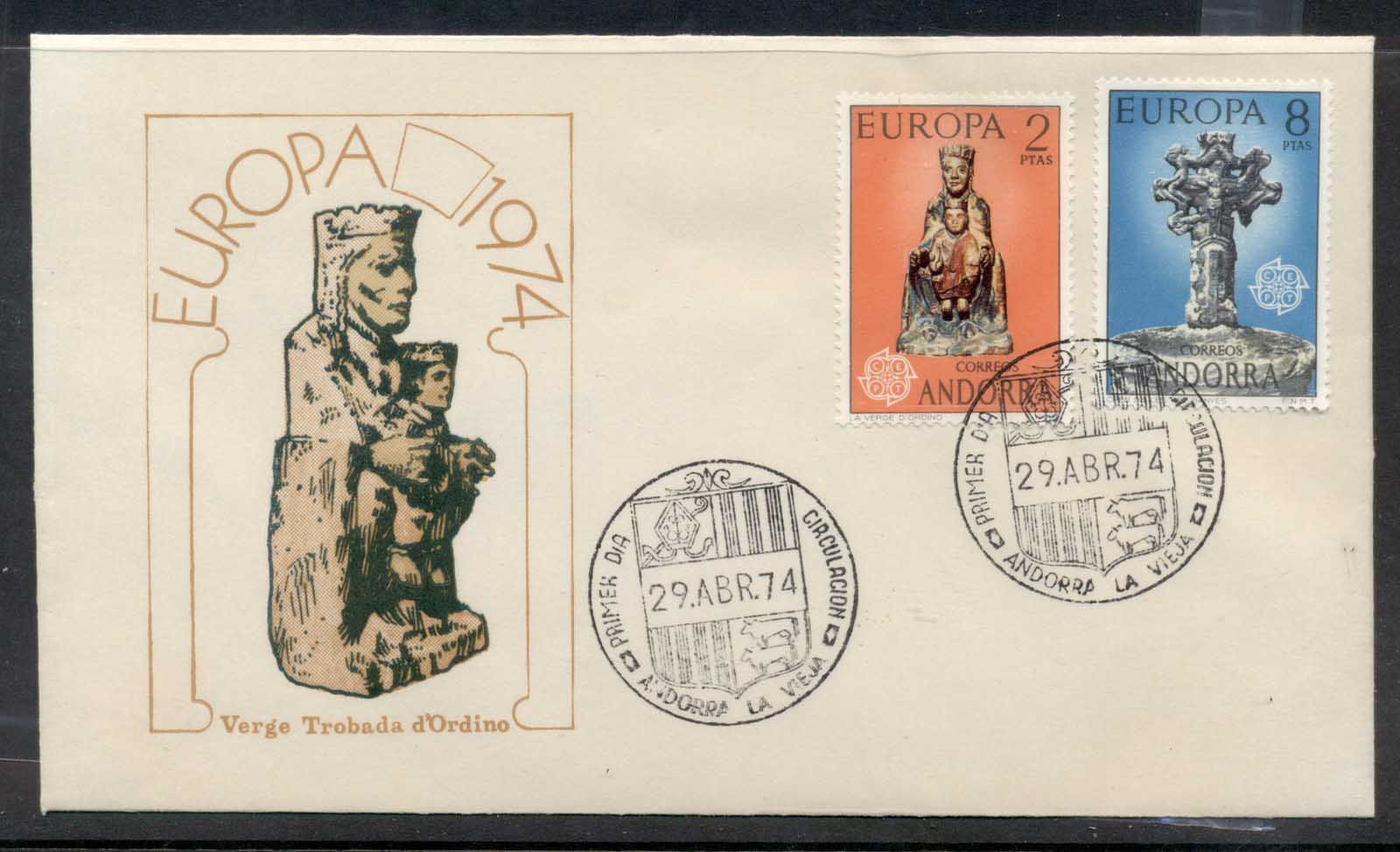 Andorra (Sp.) 1974 Europa Sculpture FDC