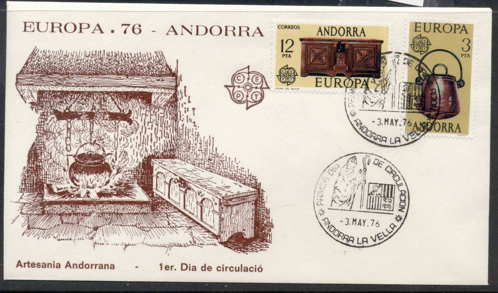 Andorra (Sp.) 1976 Europa Pottery FDC