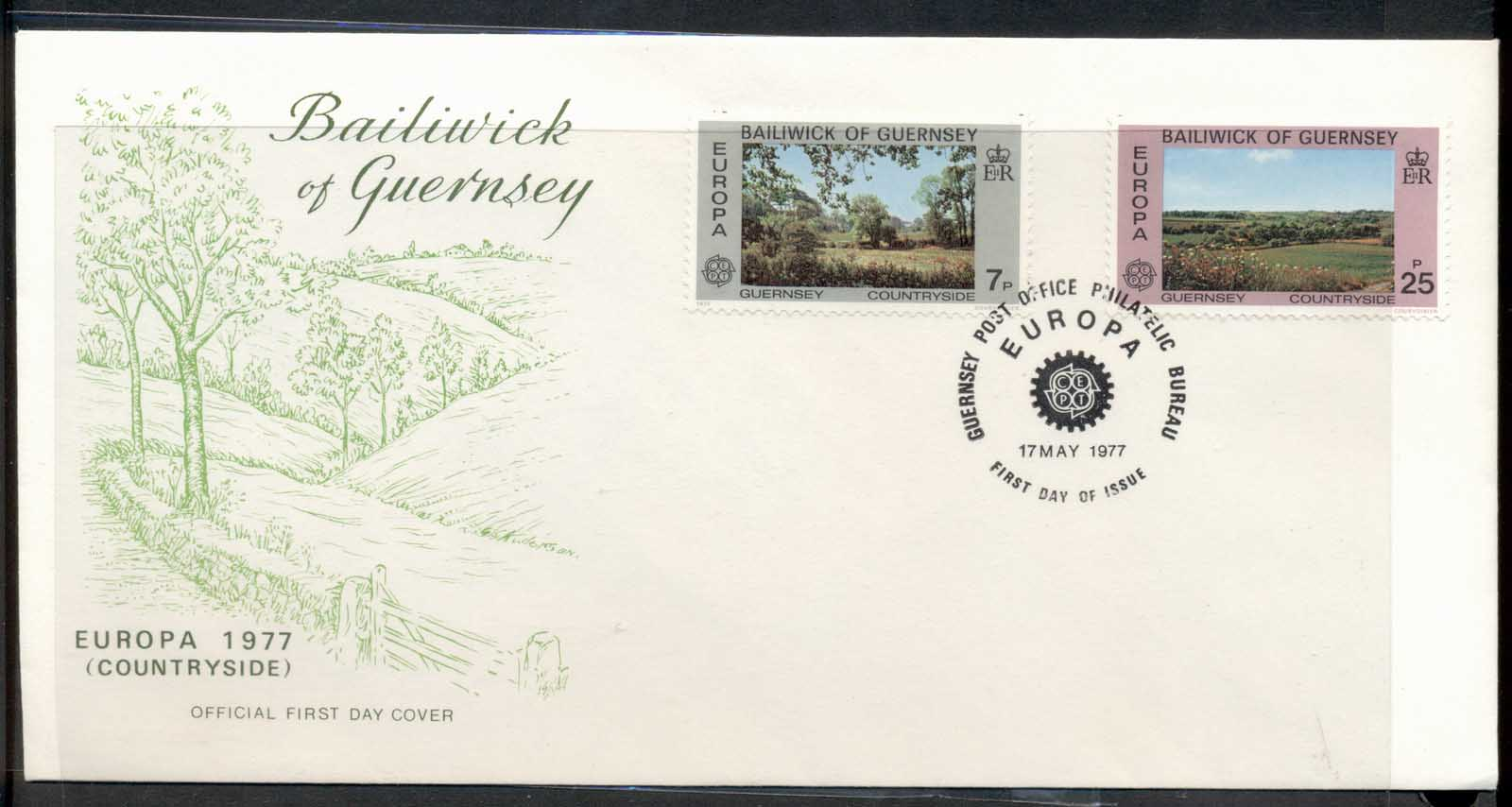 Guernsey 1977 Europa Landscapes FDC