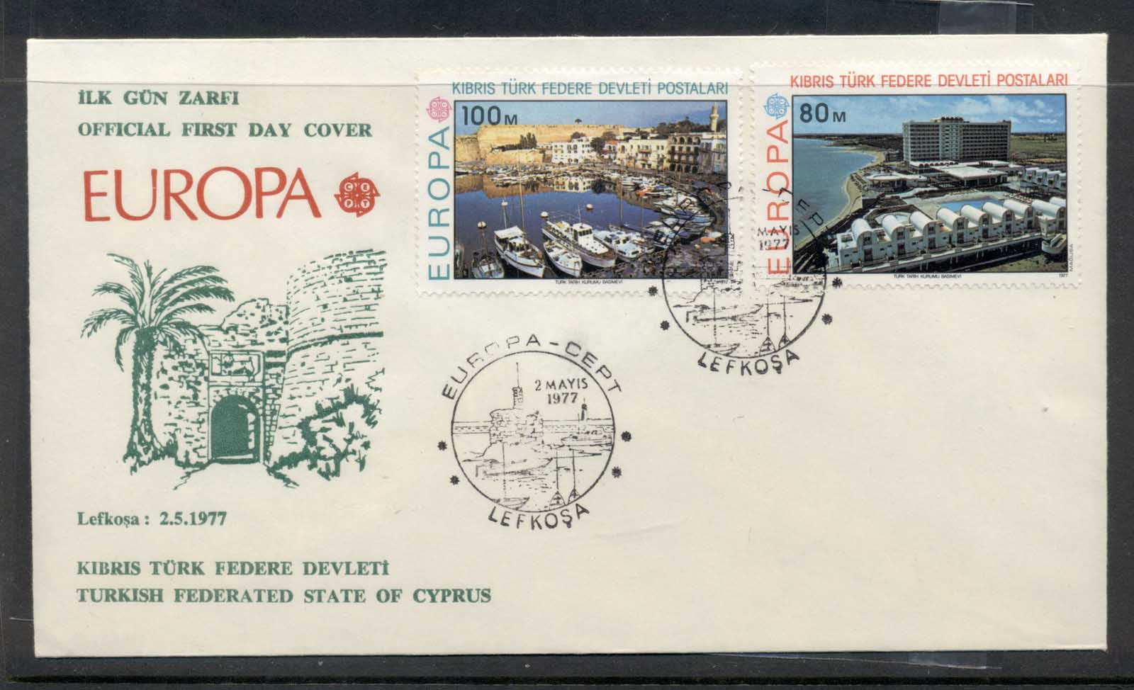 Cyprus Turkish 1977 Europa Landscapes FDC