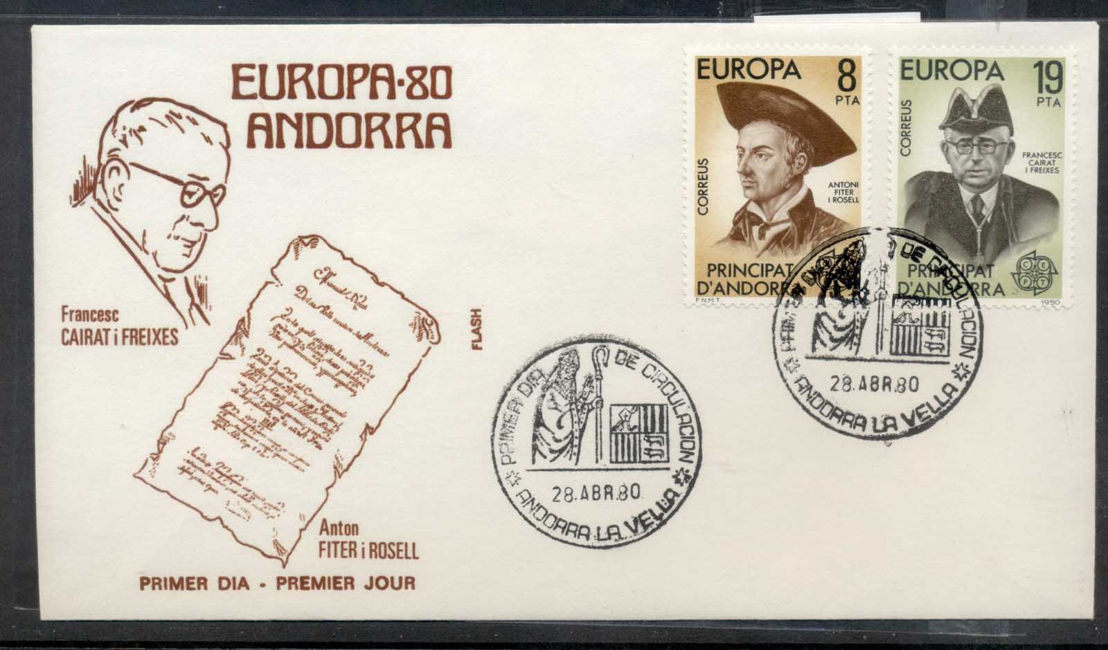 Andorra (Sp.) 1980 Europa Celebrities FDC