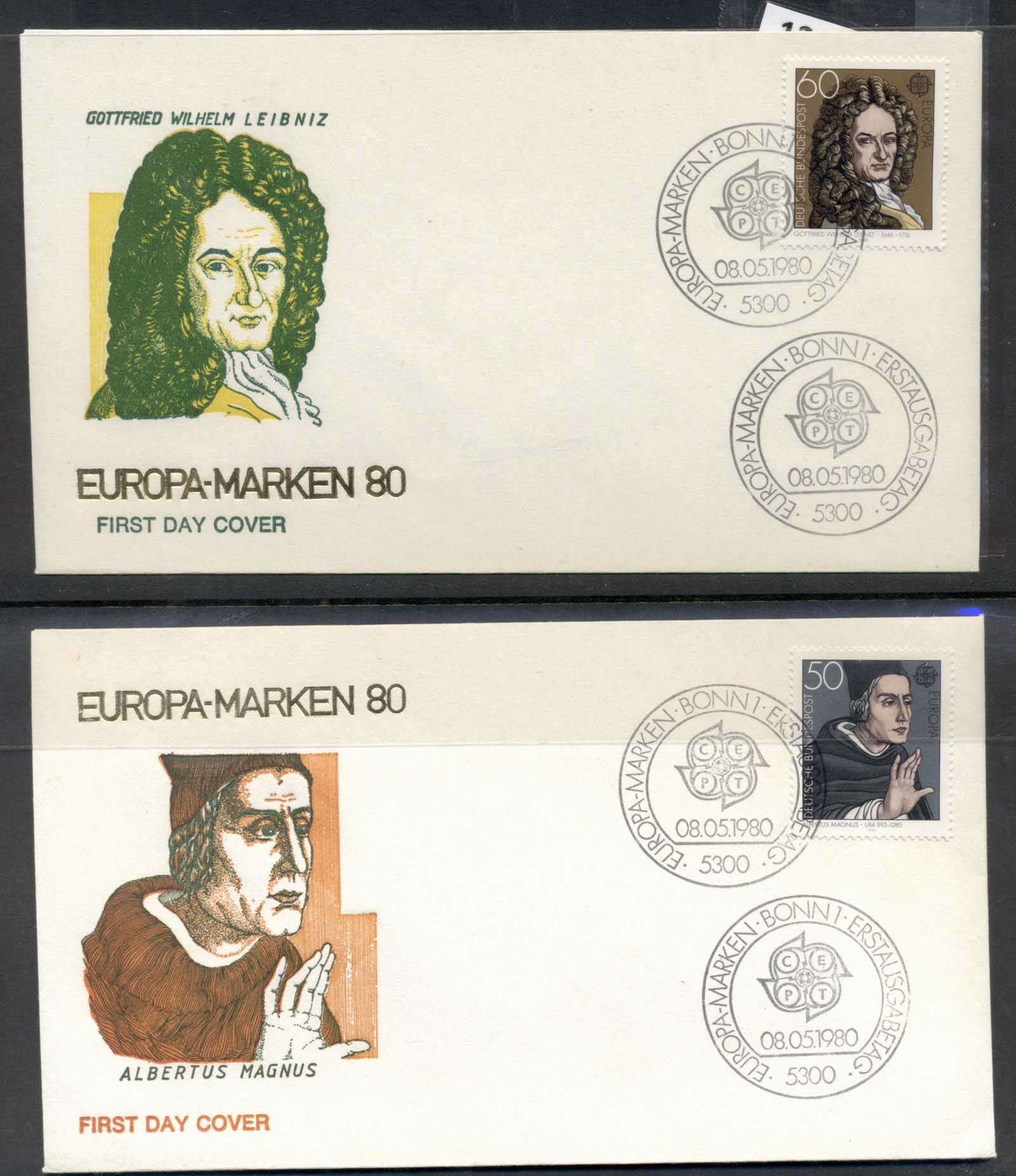 Germany 1980 Europa Celebrities 2x FDC