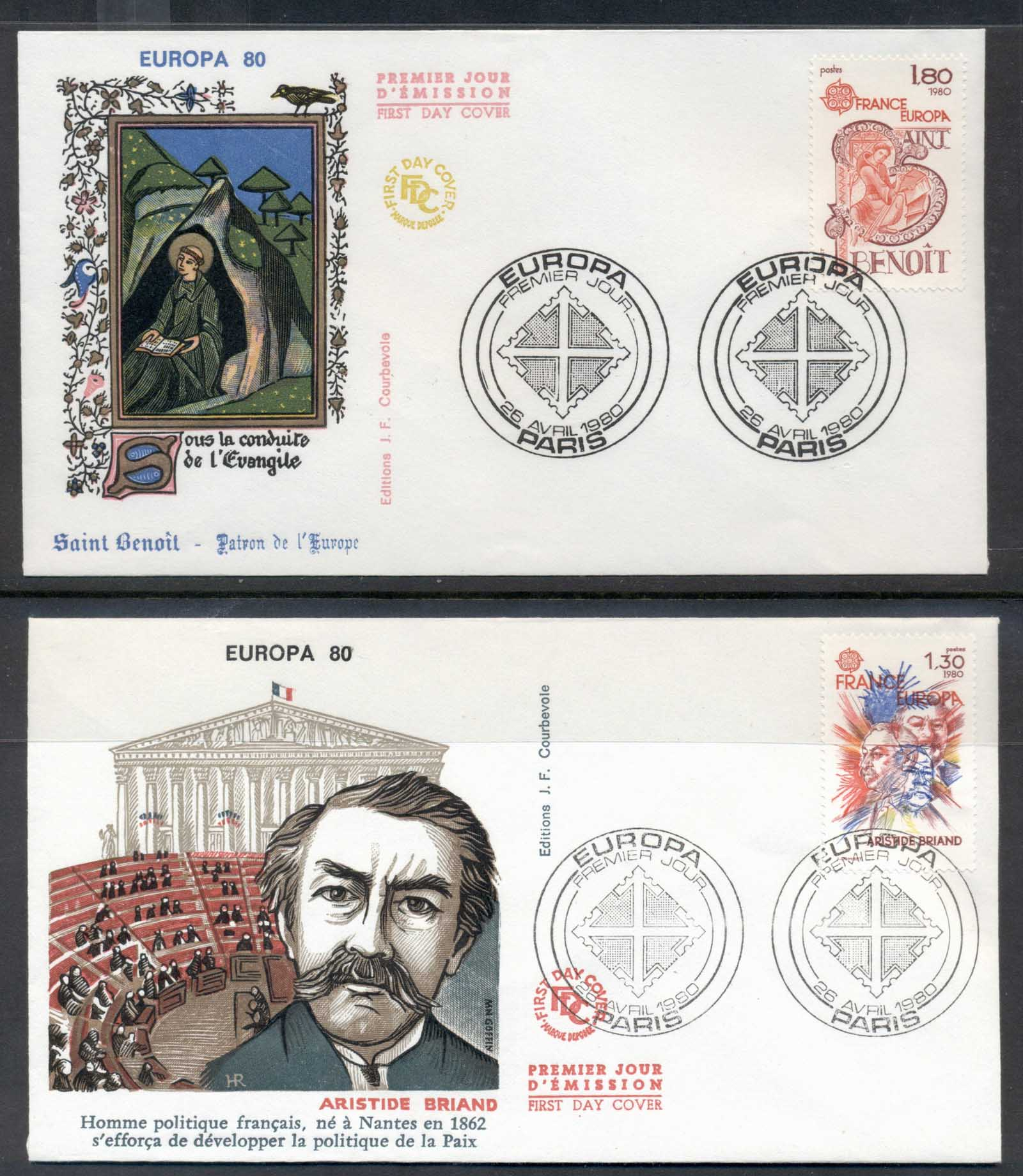 France 1980 Europa Celebrities 2x FDC