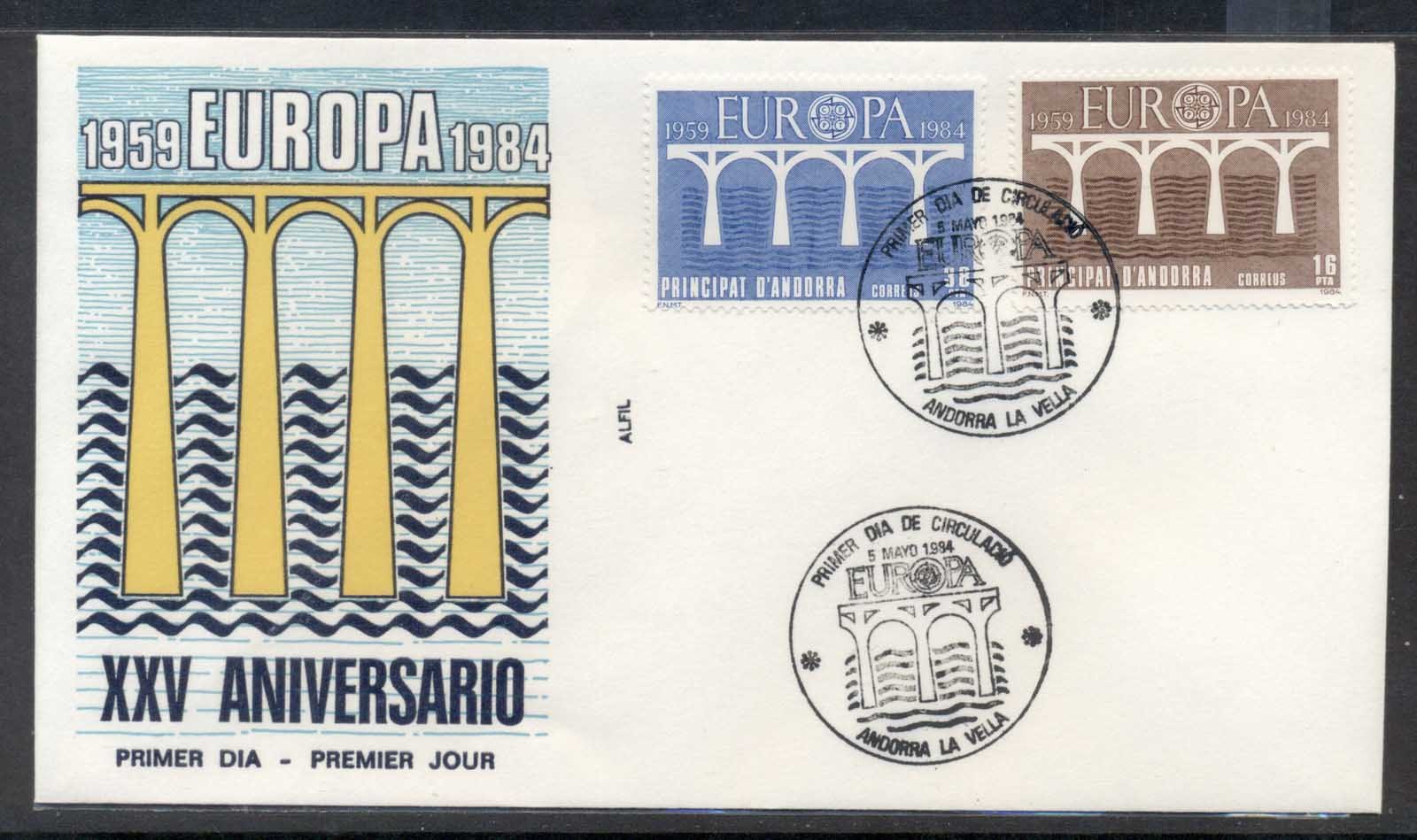 Andorra (Sp.) 1984 Europa Bridge FDC