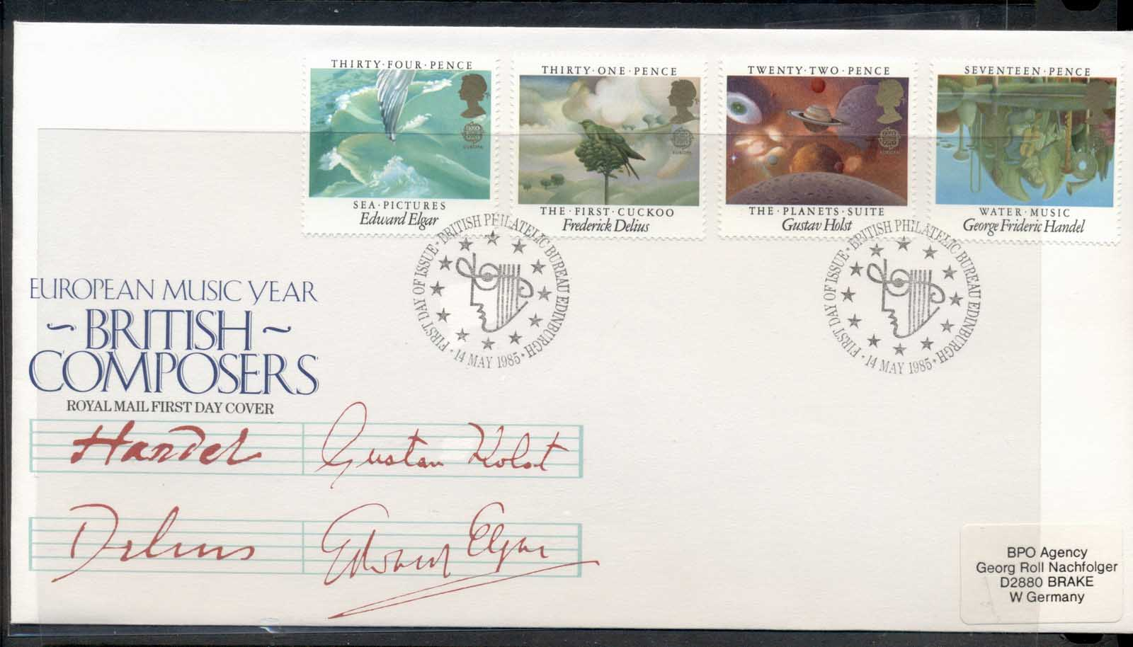 GB 1985 Europa Music Year FDC
