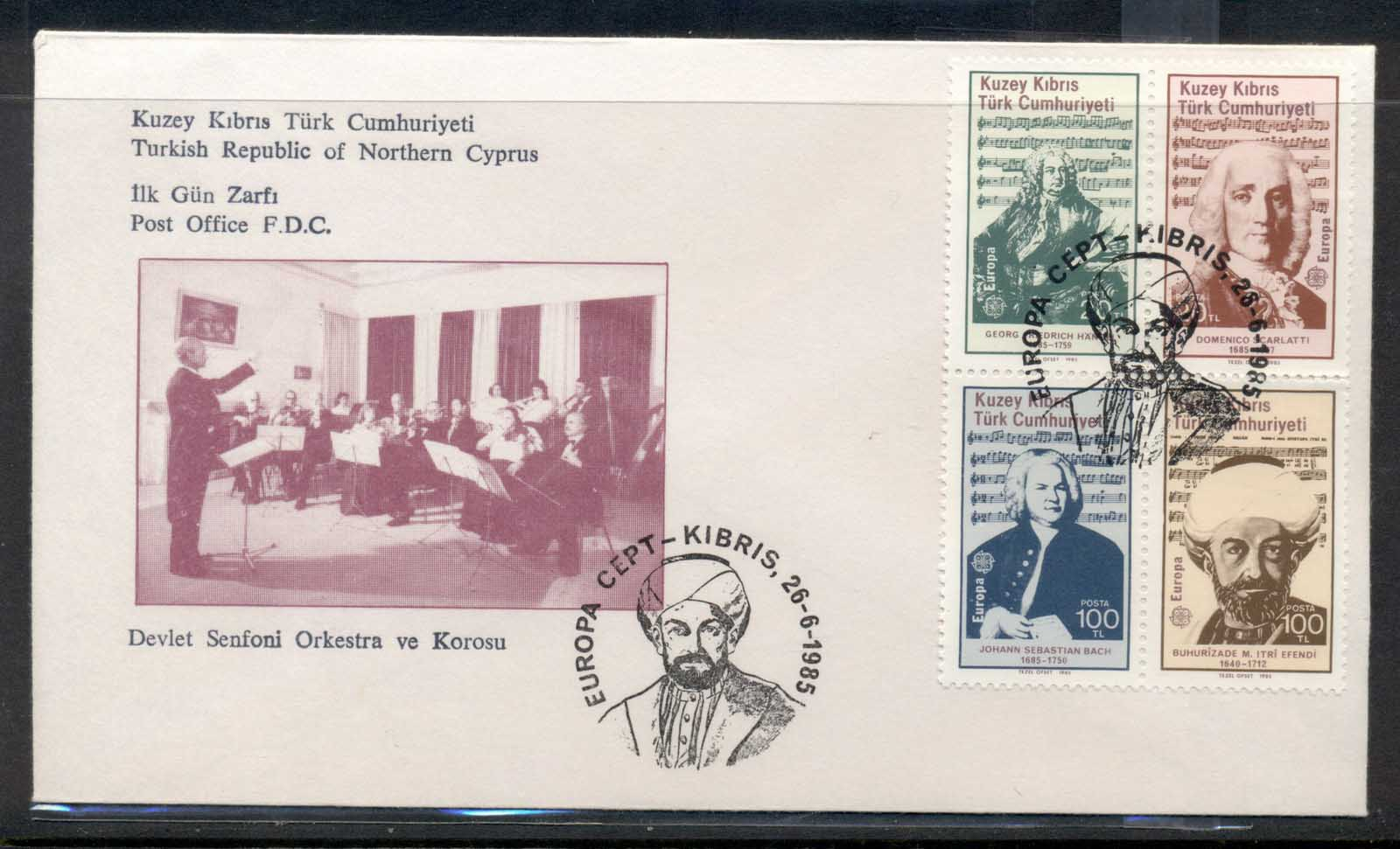 Cyprus Turkish 1985 Europa Music Year FDC
