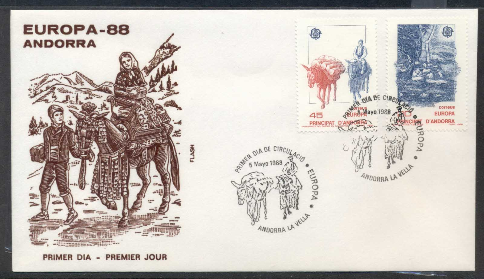 Andorra (Sp.) 1988 Europa Transport & Communication FDC