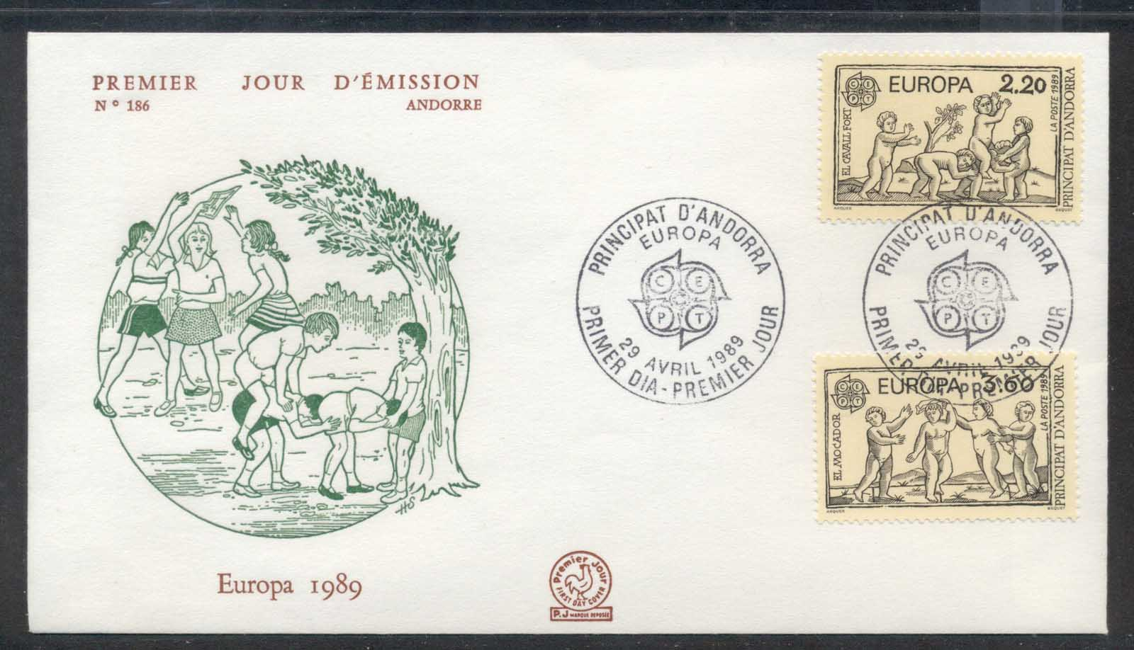 Andorra (Fr.) 1989 Europa Children's Play FDC