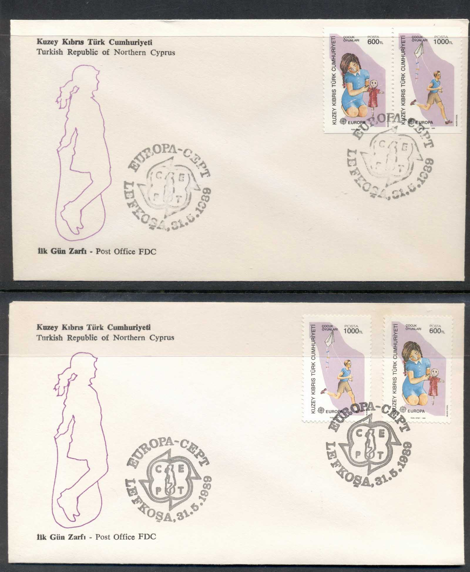 Cyprus Turkish 1989 Europa Children's Play 2x FDC