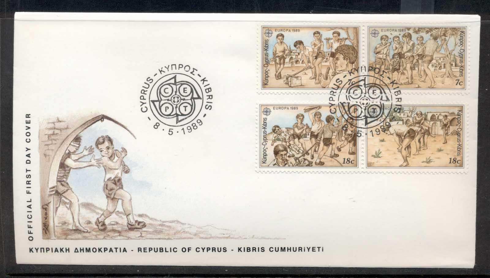 Cyprus 1989 Europa Children's Play FDC