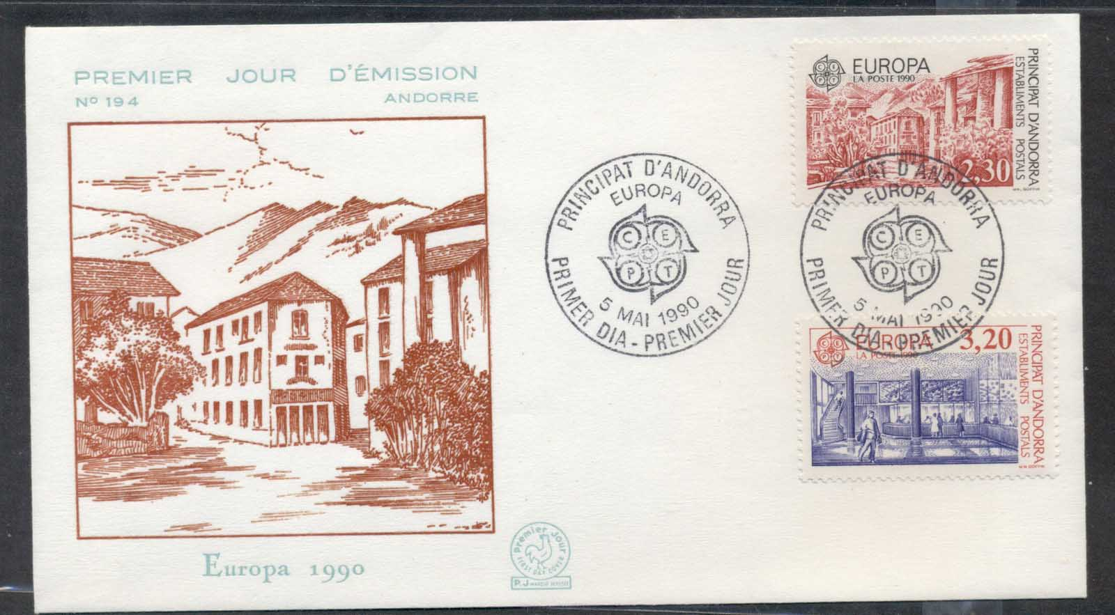 Andorra (Fr.) 1990 Europa Post Offices FDC