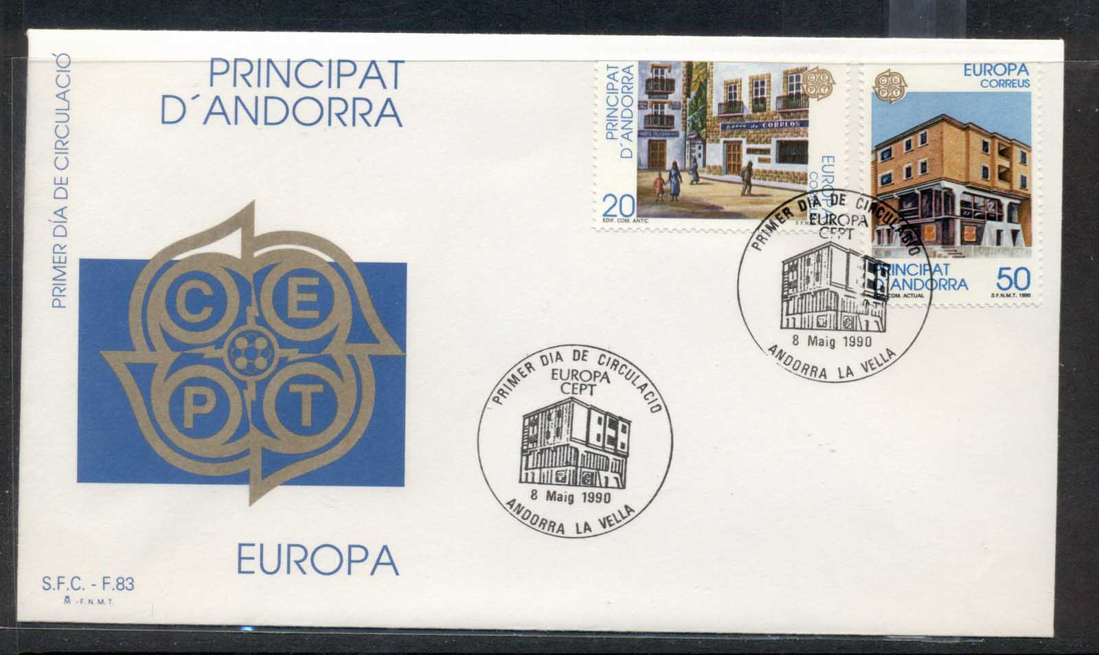 Andorra (Sp.) 1990 Europa Post Offices FDC